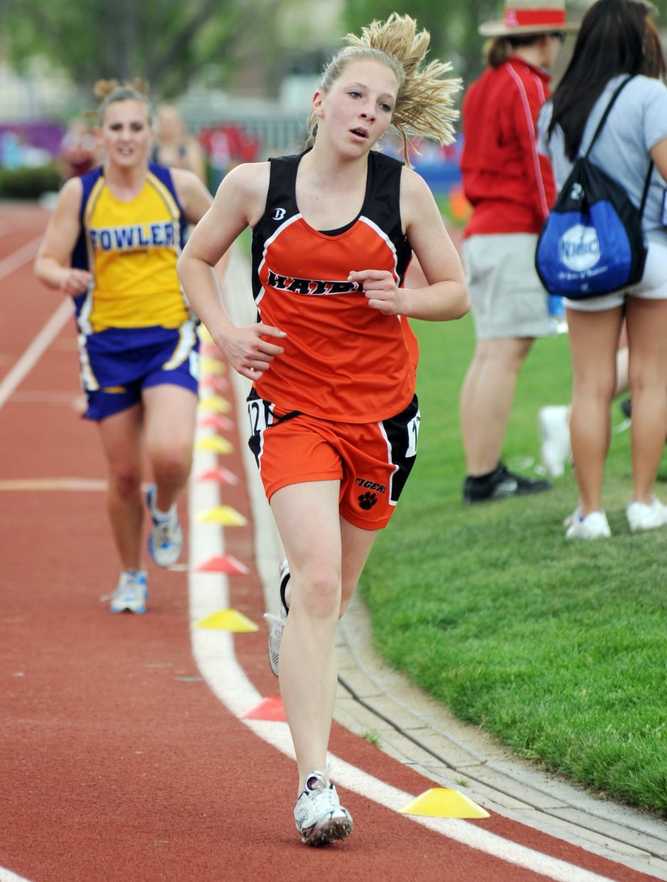 Hayden freshman Savannah Williams pulls away from a competitor Friday in the 3,200-meter race at the state track meet.