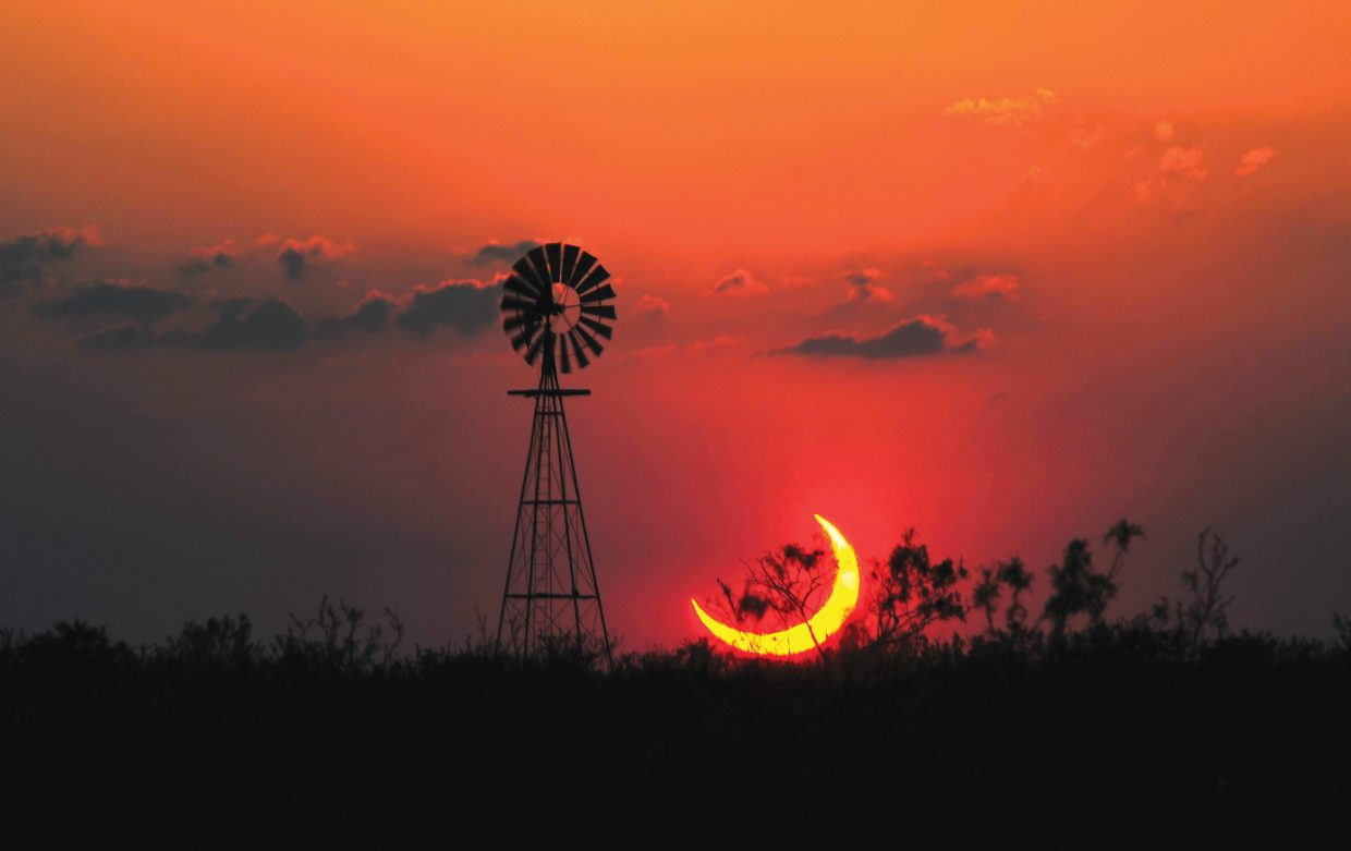 Colorado Mountain College astronomy professor and Steamboat Today columnist Jimmy Westlake traveled to a spot 20 miles south of Sundown, Texas, to capture this image of the solar eclipse at 8:42 p.m. Central Standard Time on Sunday.