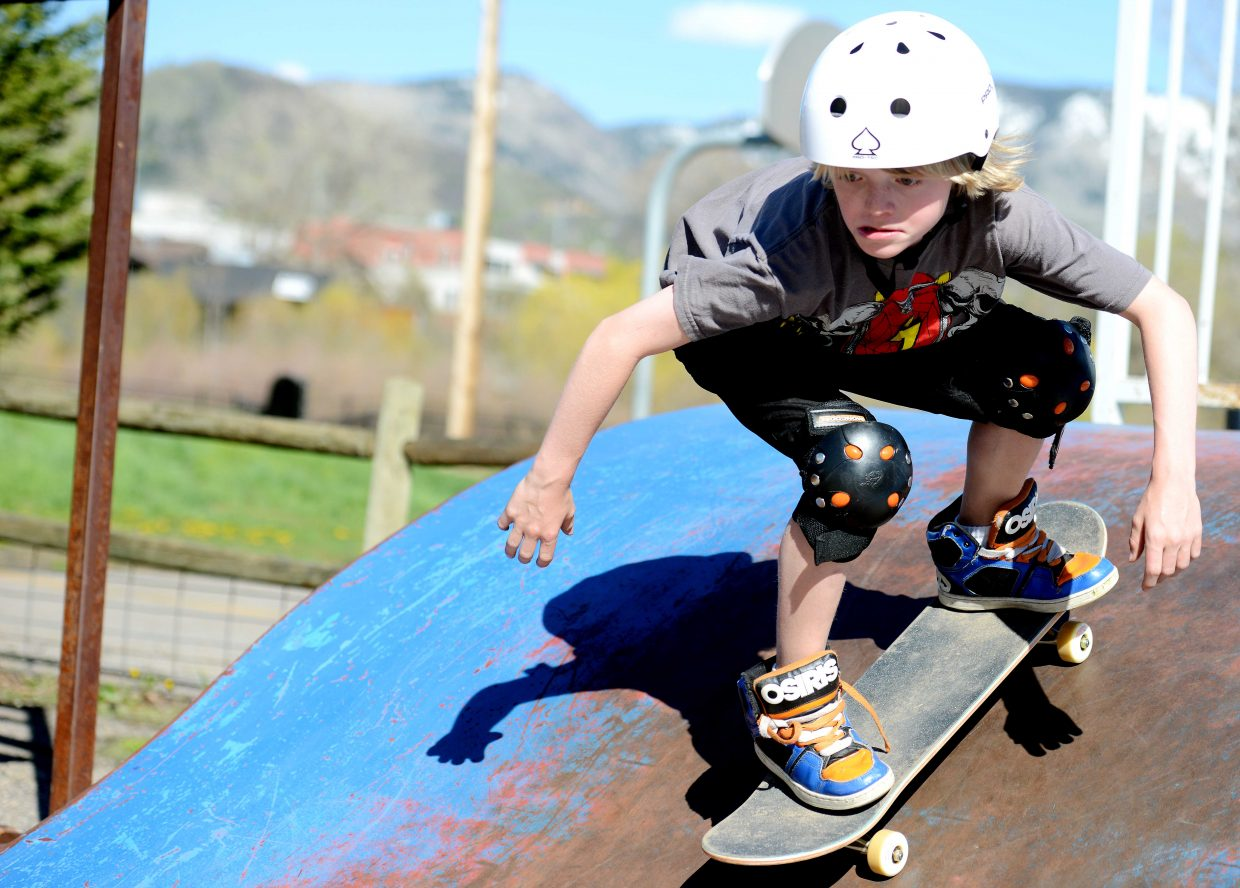 Liam Baxter, 11, rides his skateboard at Howelsen Hill on Tuesday afternoon in Steamboat Springs.