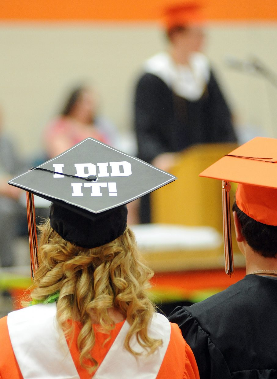 Hayden High School senior Samantha Huffar said it all with her hat Sunday at her graduation. Hayden graduated 42 seniors with the afternoon ceremony.
