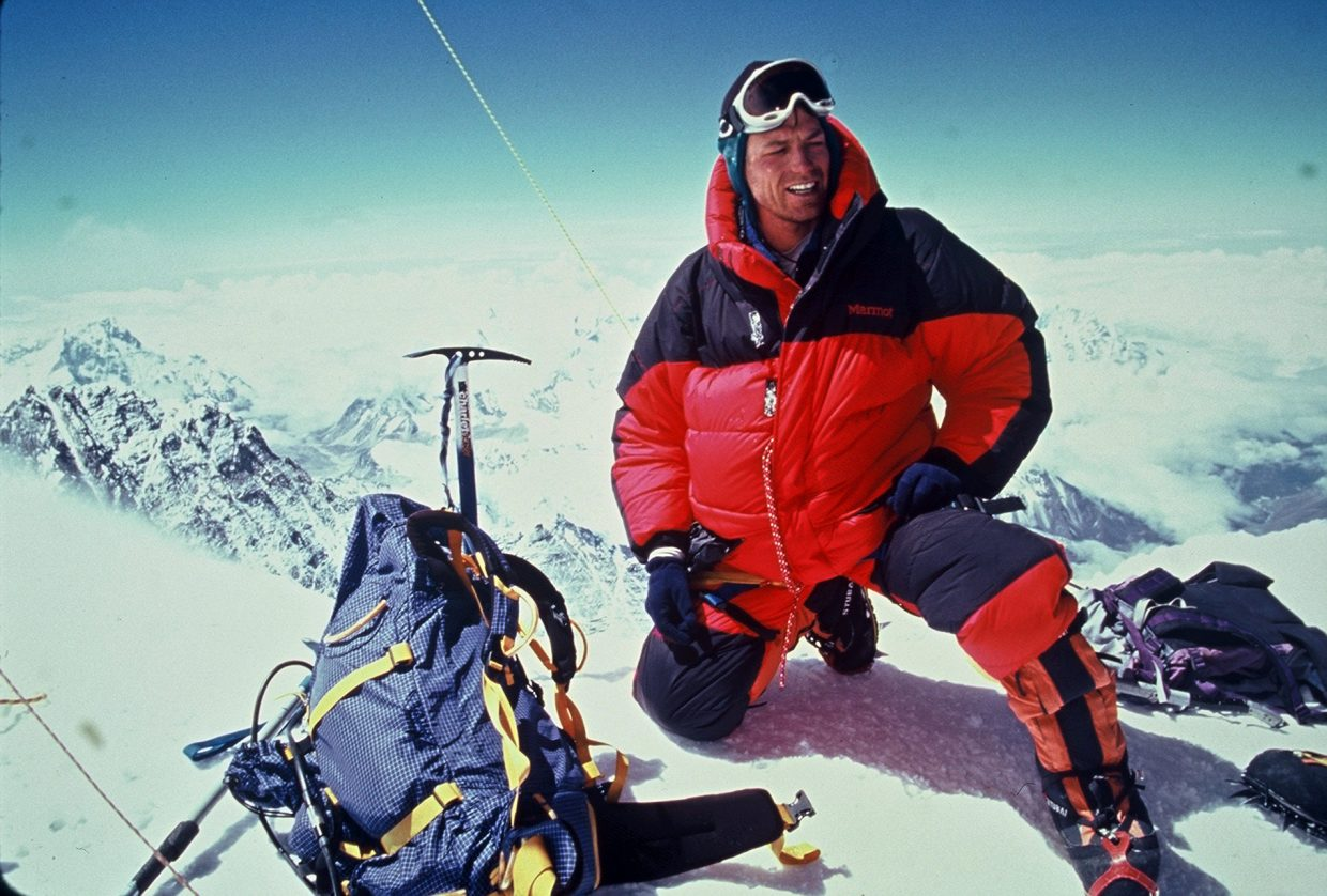 Eric Meyer sits atop Mount Everest in 2004. He reached the summit again Wednesday morning in Nepal.