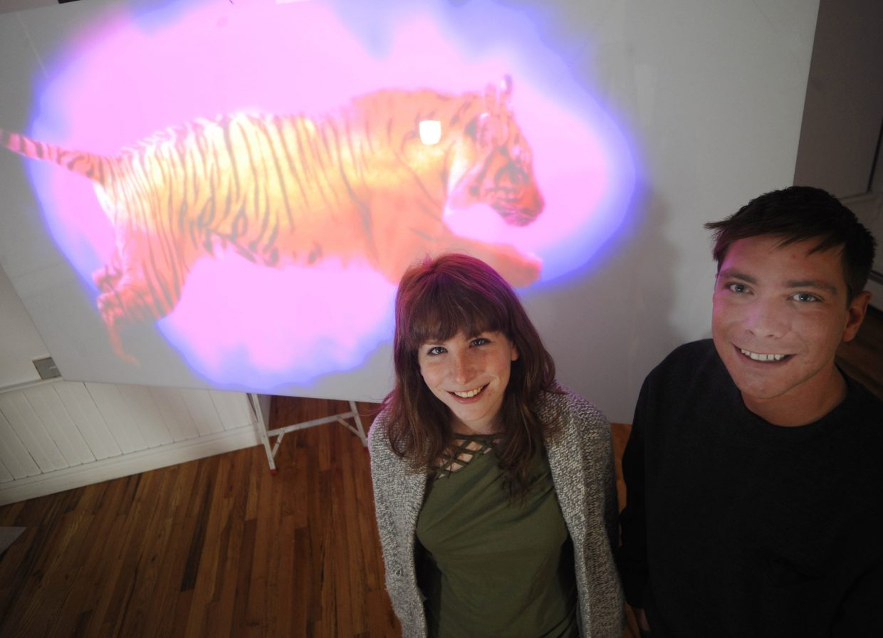 Kate Learson and Park Myers stand beside Learson's video installation, a part of the Montecarlo art collective's show, which opens from 5 to 7 p.m. Sunday at the Depot Art Center.