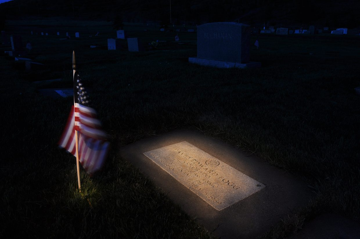 To mark Memorial Day, an American flag decorates the grave of David Fogg in the Steamboat Springs Cemetery. Fogg, a Soroco High School graduate, was killed in action in Vietnam when he was 18 years old.