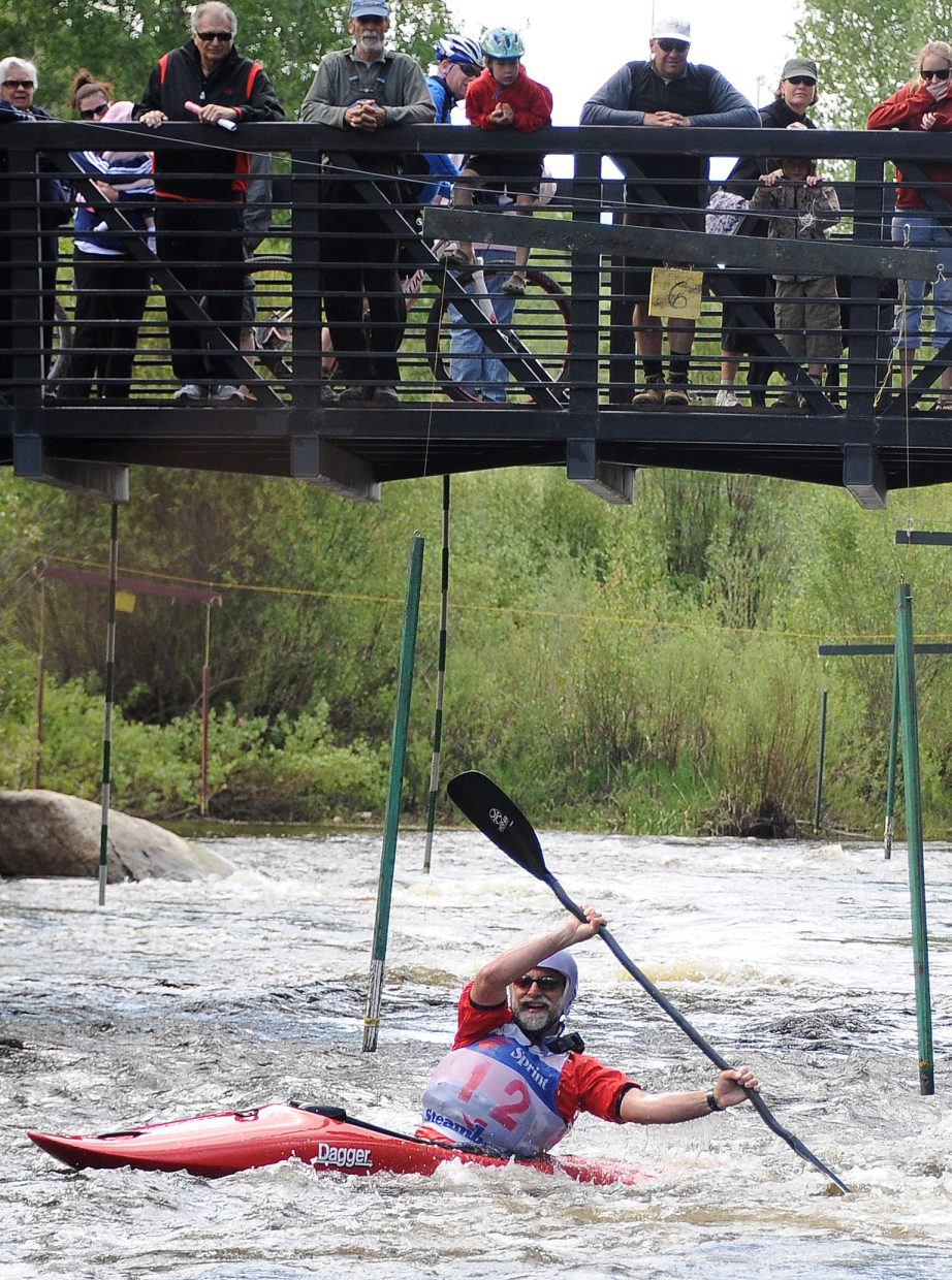 David Wallace makes a sharp turn Sunday in the Yampa River Festival.