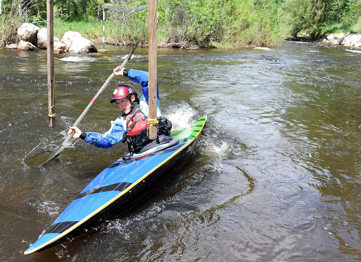 Sarah Hamilton paddles Sunday in the Yampa River Festival.