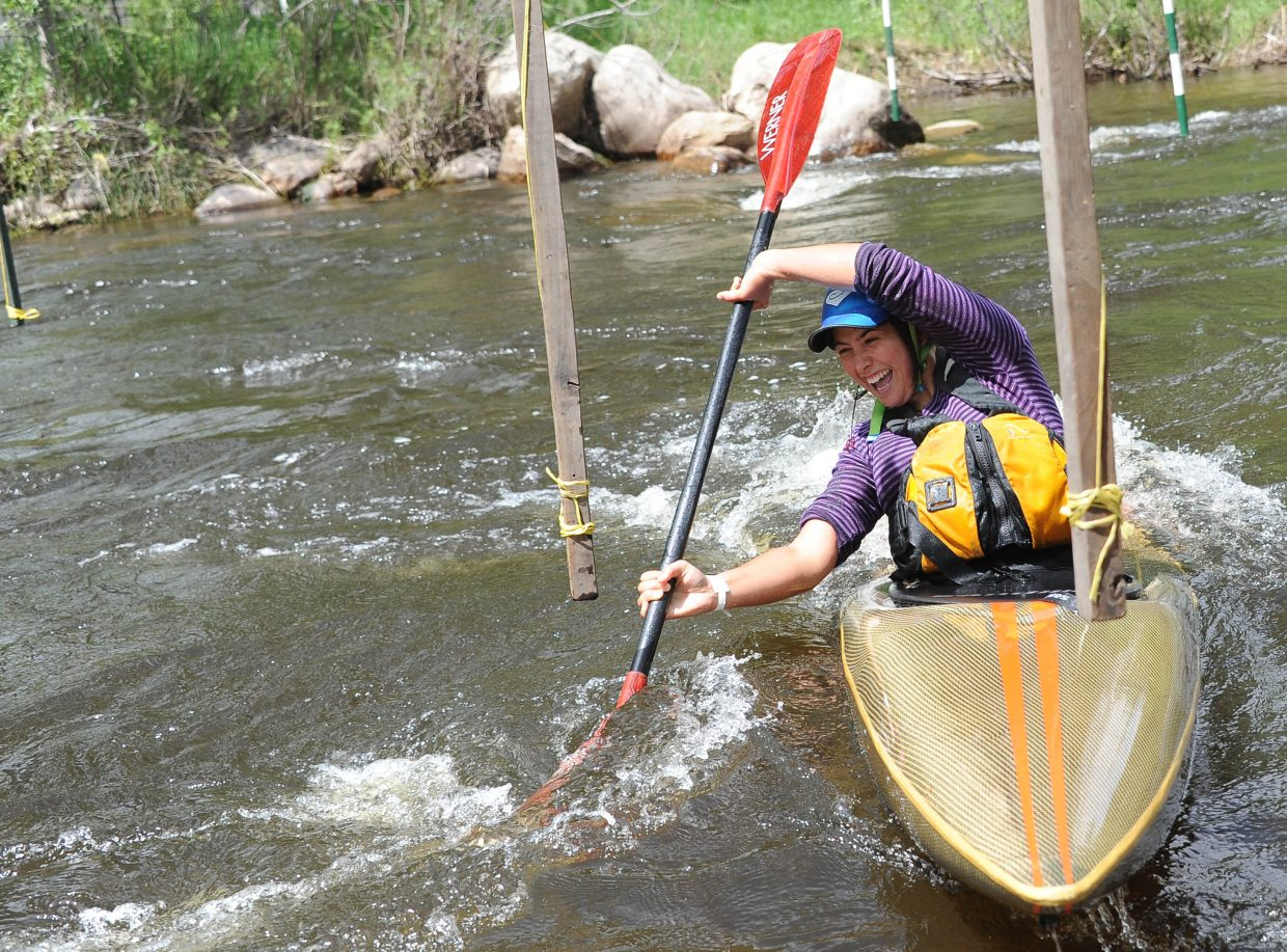 Shilo Gibson paddles Sunday during the Yampa River Festival in Steamboat Springs.