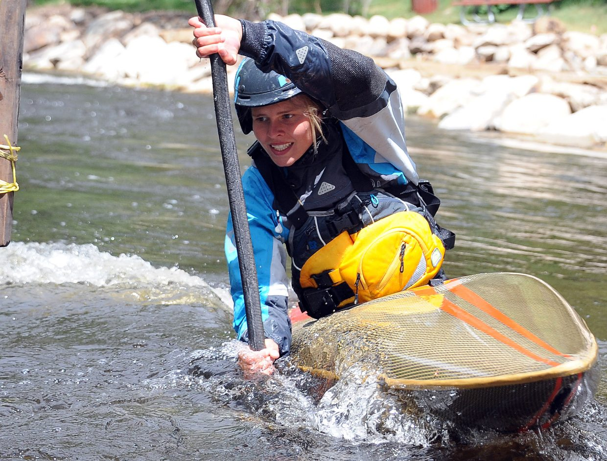 Martina Wegman paddles Sunday in the Yampa River Festival in Steamboat Springs.