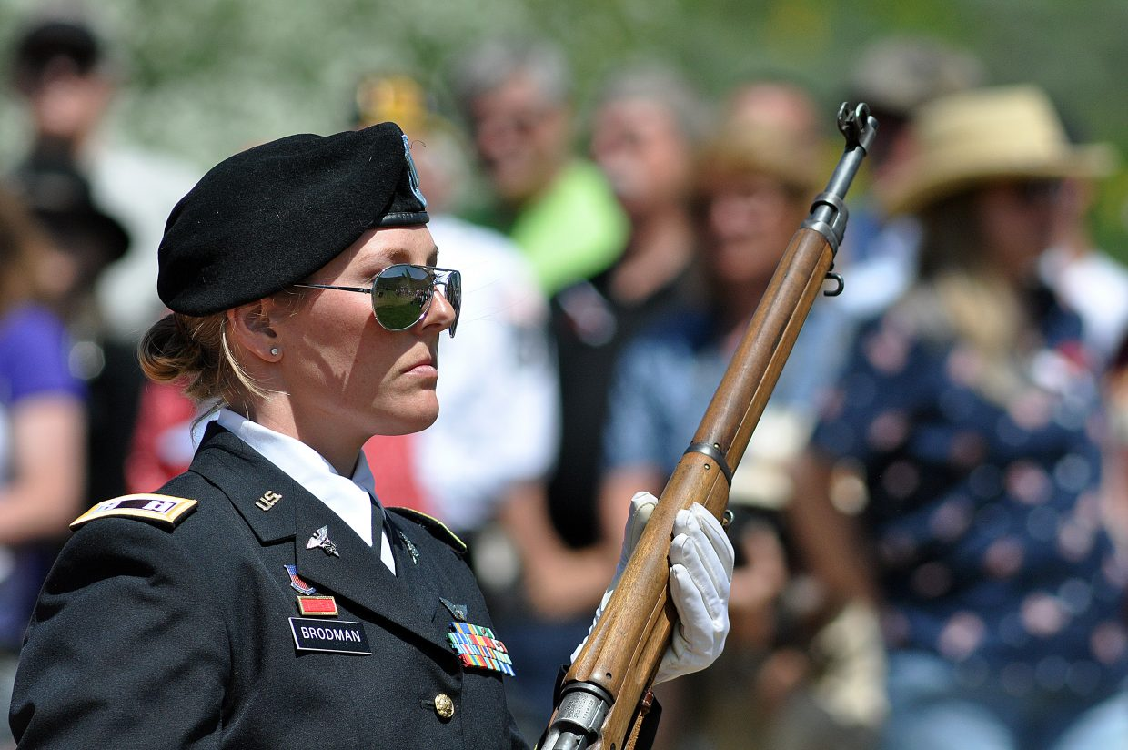 Army veteran Nissa Brodman participates Monday in the Memorial Day ceremony in Steamboat Springs.