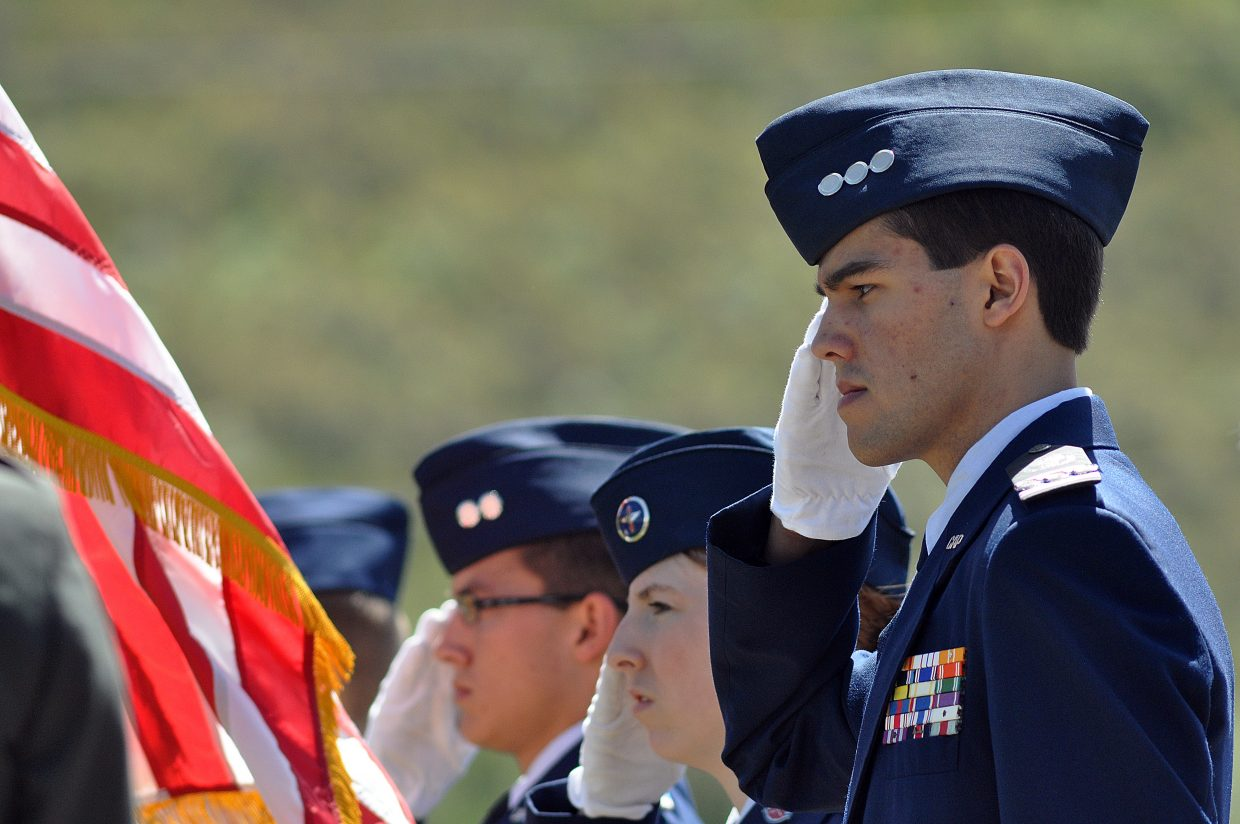 Members of the Civil Air Patrol salute during a Memorial Day ceremony in Steamboat Springs.