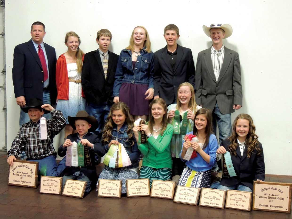 Members of the Routt County 4-H Livestock Judging Team celebrate after taking the top two places at a competition in Gunnison. Pictured are, back row from left, coach Rod Wille, Hallie Myhre, Tell Belton, Abbey Horn, Will Anderson and Anthony Sisto; and front row from left, Tristan Singer, Emmitt Meyring, Bailey Singer, Katelyn Olinger, Hannah Hayes, Grace Olinger and Kayla Wille.