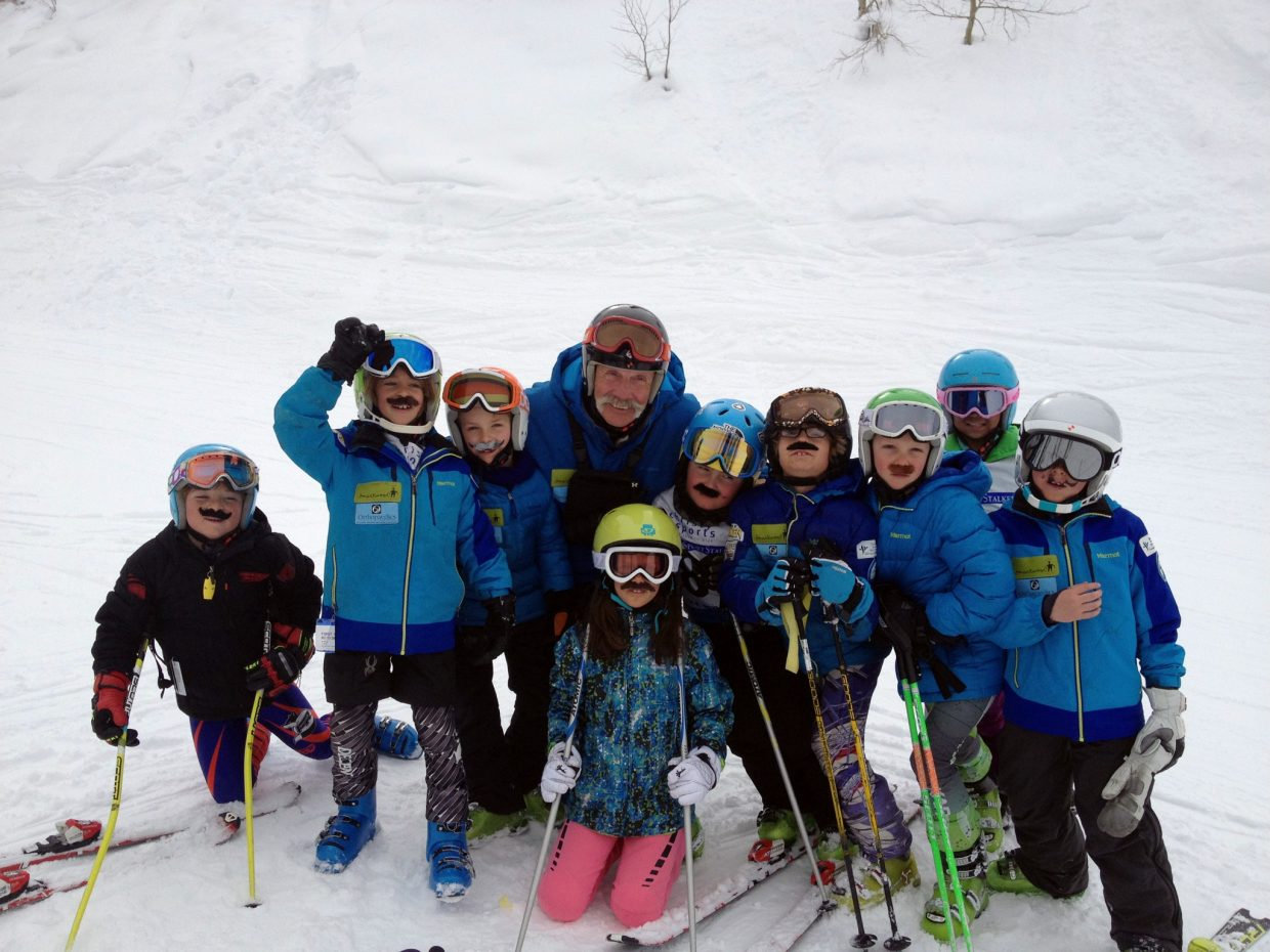 """Asher Lesyshen-Kirlan, fourth from right, is pictured with Steamboat Springs Winter Sports Club coach Bill Montag and the """"wild bunch."""""""