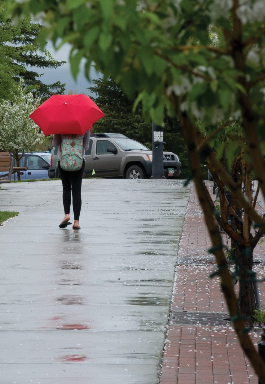 Kaylee Olson uses an umbrella to shield her from the drizzle Wednesday morning as she walks to Bud Werner Memorial Library.