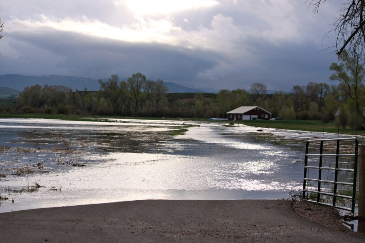 The Elk River crested its banks Monday morning, flooding this field in rural Routt County west of Steamboat Springs.