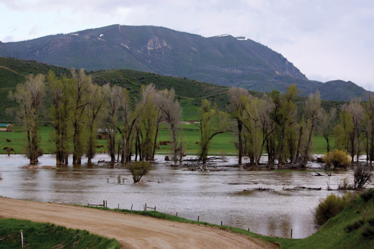 Flooding on the Elk River on Monday morning.