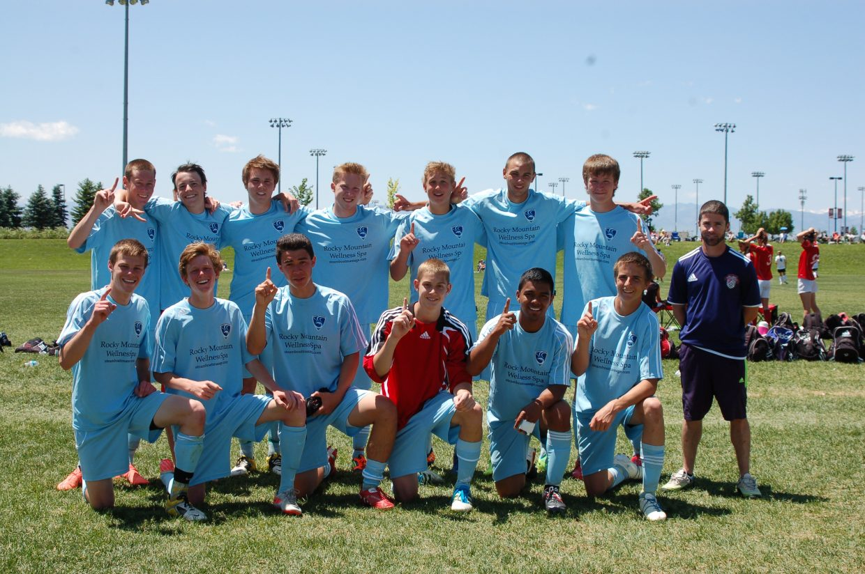 The Steamboat Soccer Club U18 team celebrates after winning the 2012 Men's U18/17 Gold Division of the Real Colorado Cup during the weekend.