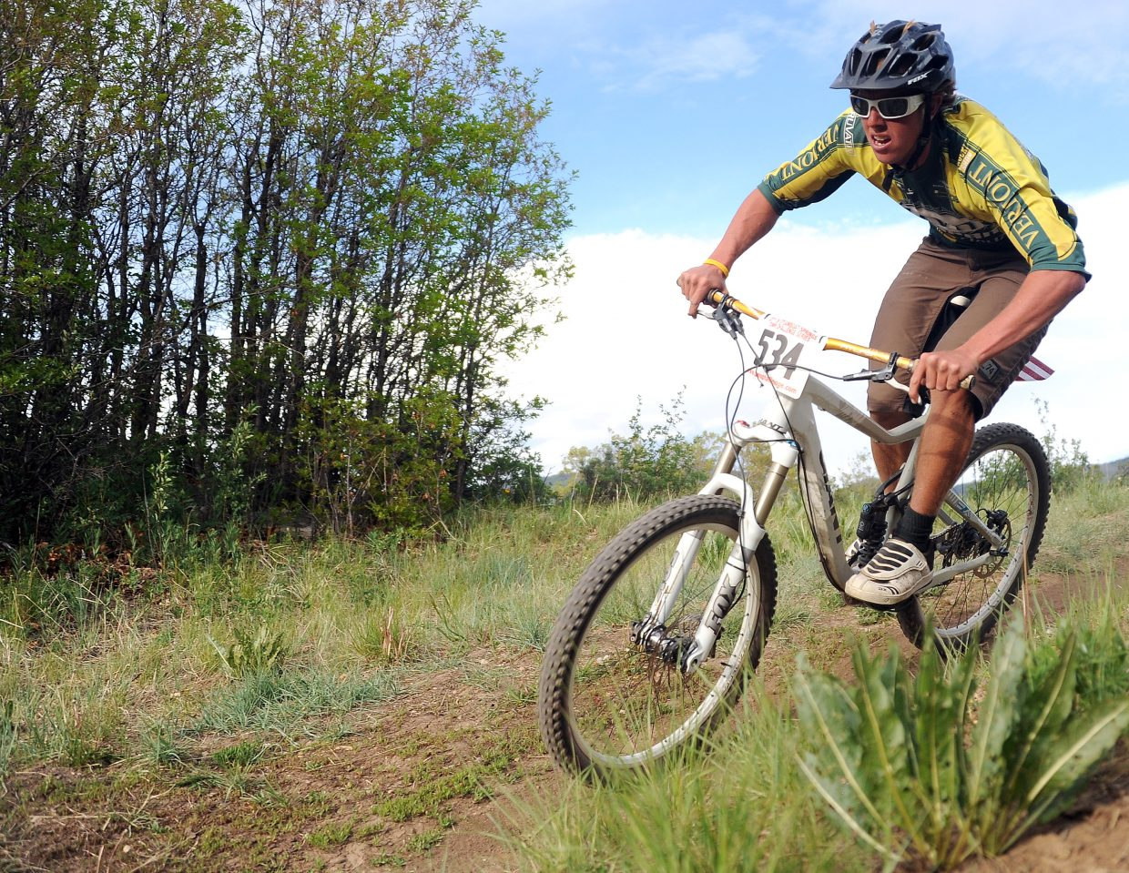 Tyler Gilman rides Wednesday in a Town Challenge race at Howelsen Hill in Steamboat Springs.