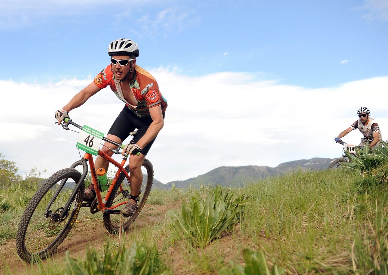 Matthew Eggen rides Wednesday in a Town Challenge race at Howelsen Hill in Steamboat Springs.