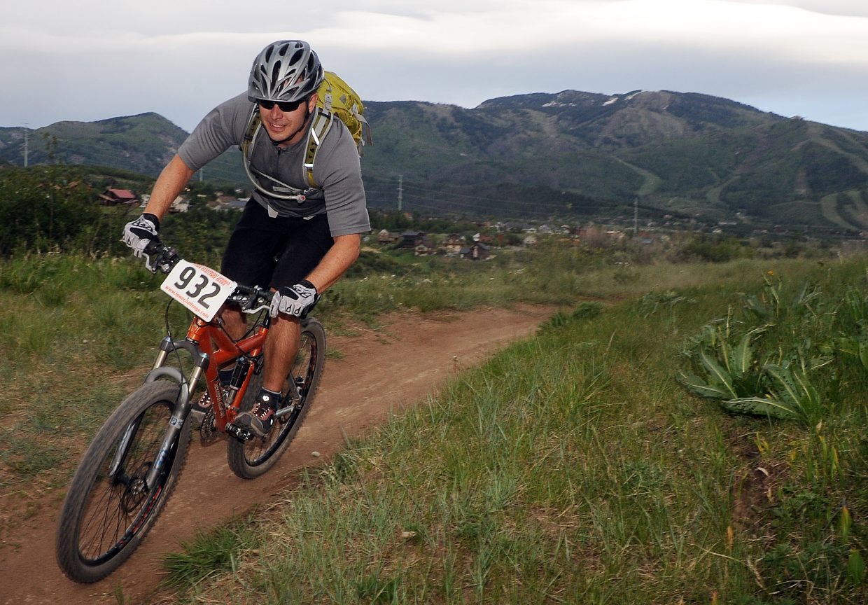 Doug Collins rides Wednesday in a Town Challenge race at Howelsen Hill in Steamboat Springs.