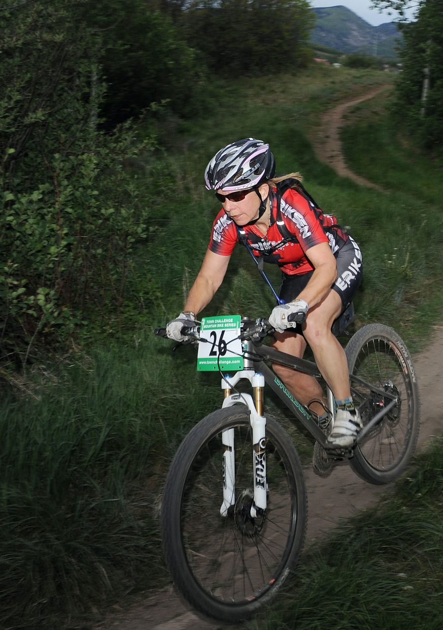 Patti Lindquist rides Wednesday in a Town Challenge race at Howelsen Hill in Steamboat Springs.