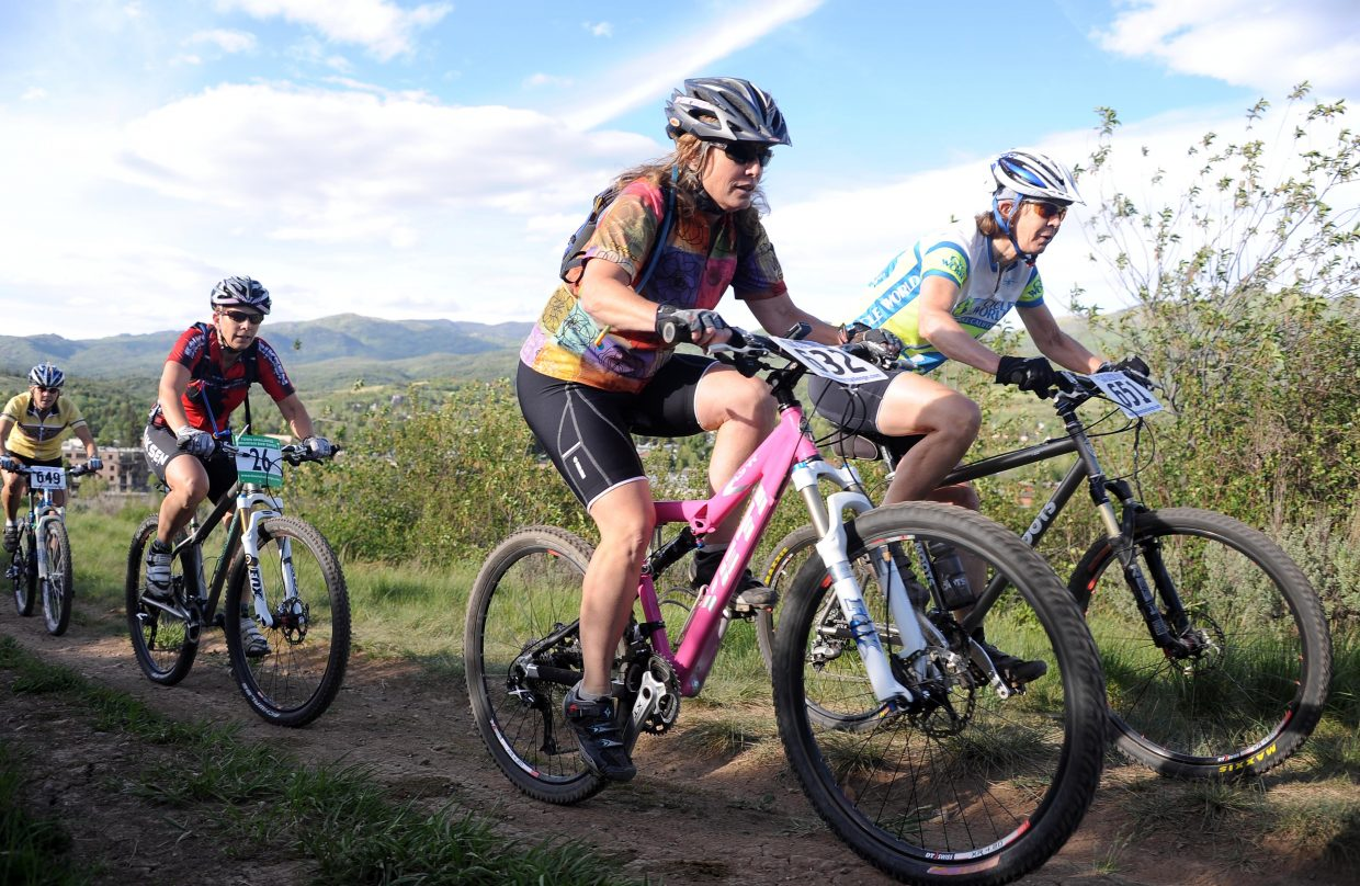 Johanna Hall, right, and Mary Ann Keiss lead a pack Wednesday in a Town Challenge race at Howelsen Hill in Steamboat Springs.