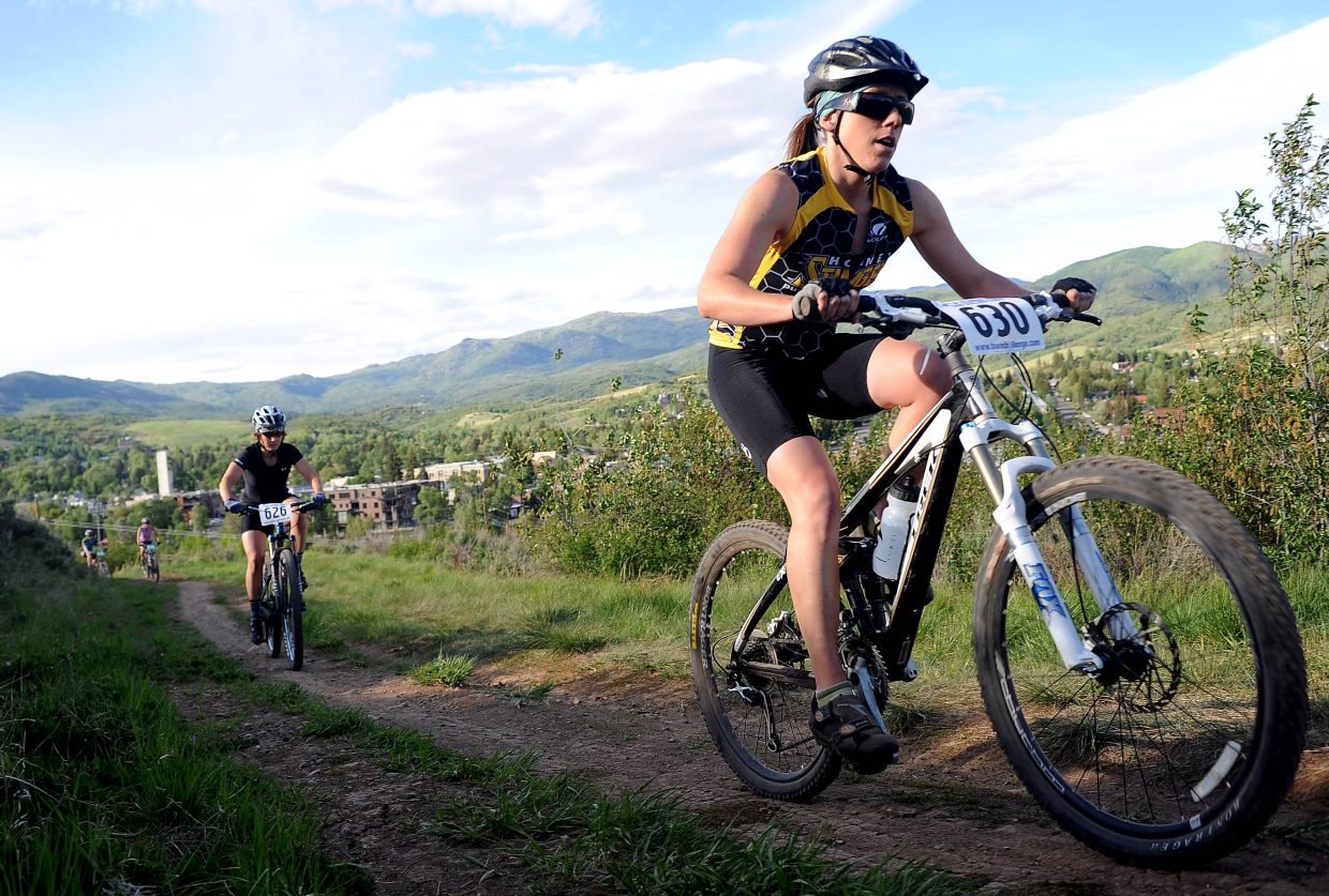Reall Colbenson rides Wednesday in a Town Challenge race at Howelsen Hill in Steamboat Springs.