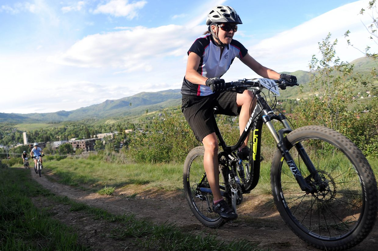 Mindy Mullikin rides Wednesday in a Town Challenge race at Howelsen Hill in Steamboat Springs.