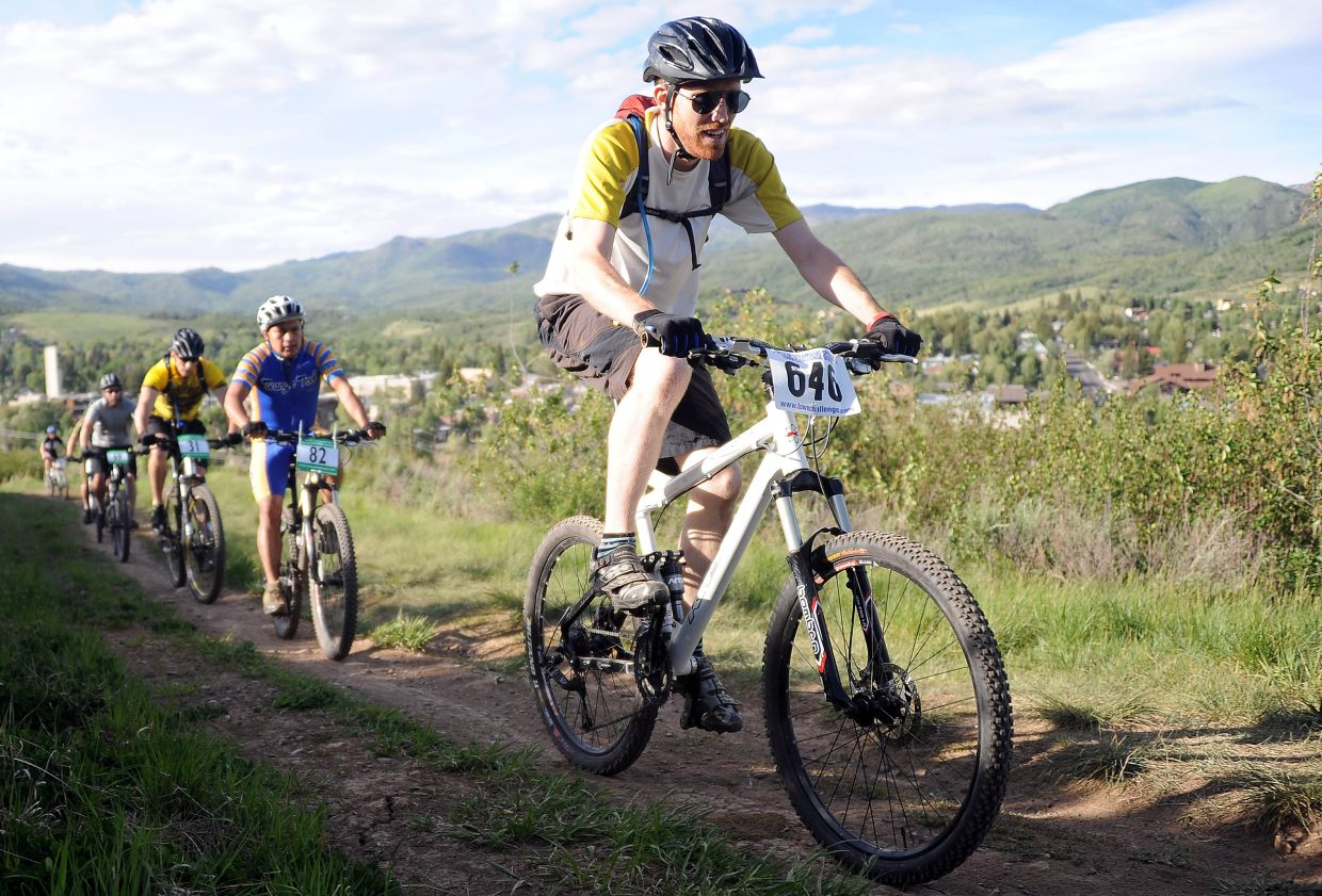 Justin Hirsch rides Wednesday in a Town Challenge race at Howelsen Hill in Steamboat Springs.