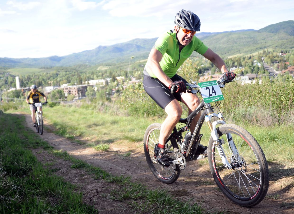 Mel Stewart rides Wednesday in a Town Challenge race at Howelsen Hill in Steamboat Springs.