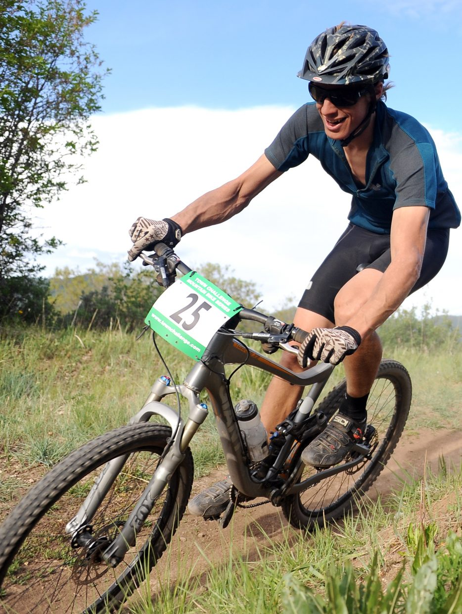 Chad Gruben rides Wednesday in a Town Challenge race at Howelsen Hill in Steamboat Springs.
