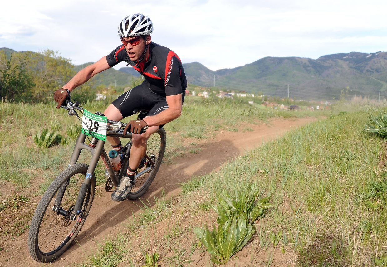 Jon Freckleton rides Wednesday in a Town Challenge race at Howelsen Hill in Steamboat Springs.