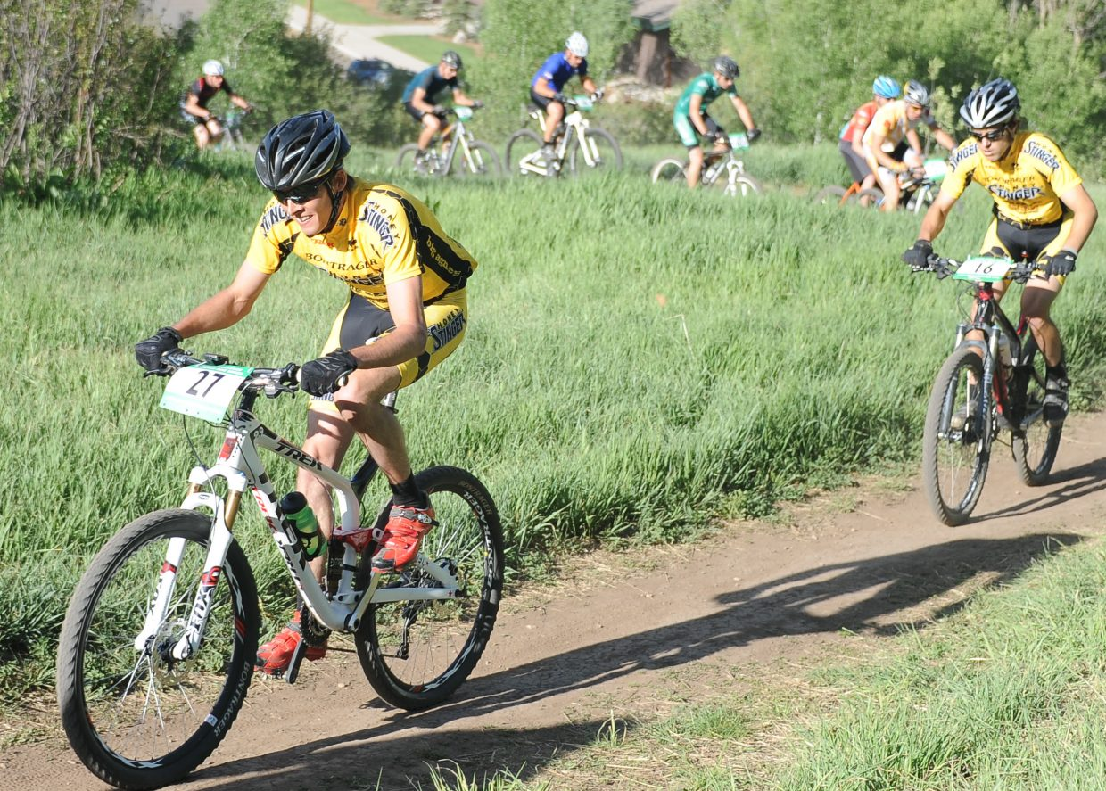 Peter Kalmes rides Wednesday in a Town Challenge race at Howelsen Hill in Steamboat Springs.