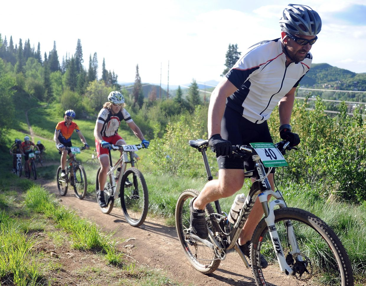 Derek Leidigh rides Wednesday in a Town Challenge race at Howelsen Hill in Steamboat Springs.
