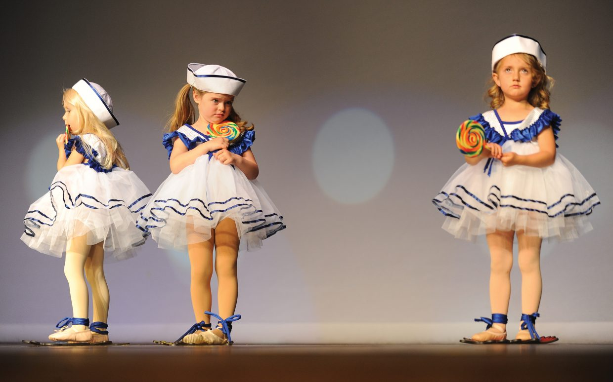 Dancers, from left, Dominika Skoda, Samantha Coleman and Kylie Mayle perform to Good Ship Lollipop at a dress rehearsal for the Elevation Dance Studio's annual recital, which will take place at 6 p.m. Friday and Saturday at the Steamboat Springs High School auditorium.