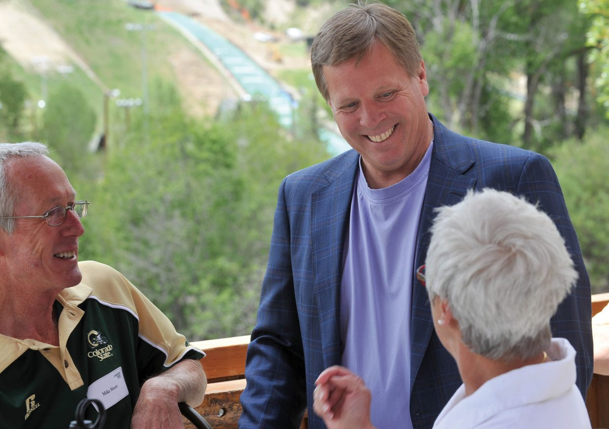 Colorado State University head football coach Jim McElwain speaks to a crowd at The Boathouse Pub on Thursday afternoon in Steamboat Springs.