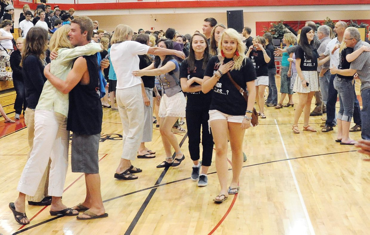 The Steamboat Springs High School Class of 2012 says goodbye to faculty members Thursday after an all-school assembly at the gymnasium. The class will graduate Saturday.