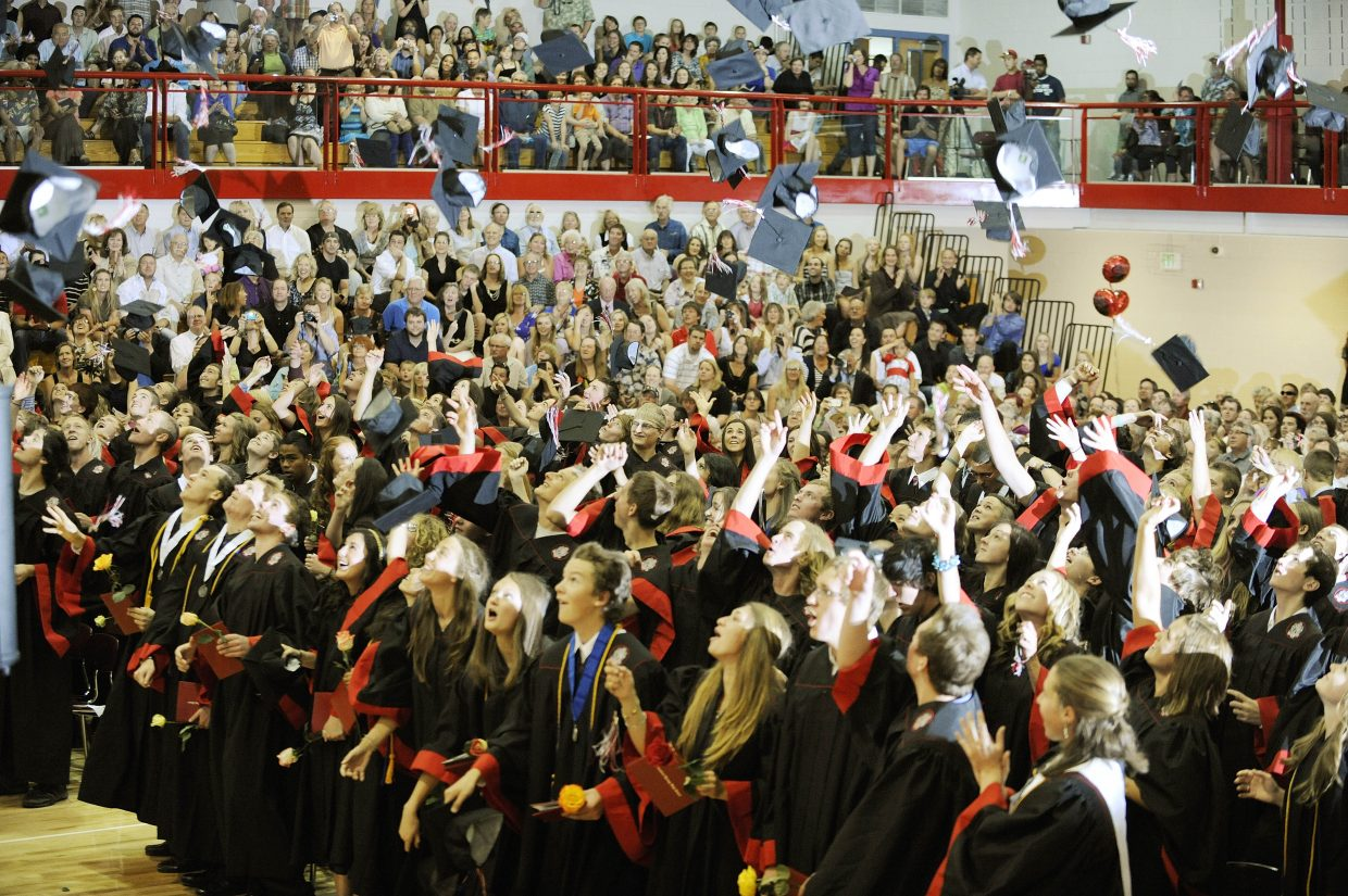 Steamboat Springs High School graduates throw their caps into the air Saturday in the Kelly Meek Gymnasium.