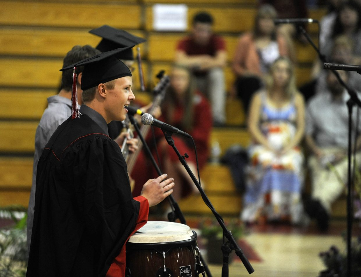Daniel Melvin performs for his classmates during Saturday's graduation ceremony at Steamboat Springs High School.