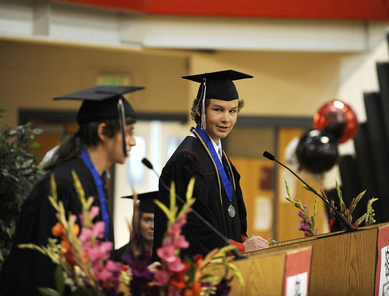 Student speakers Jake Barker, right, and Lev Tsypin address their classmates.