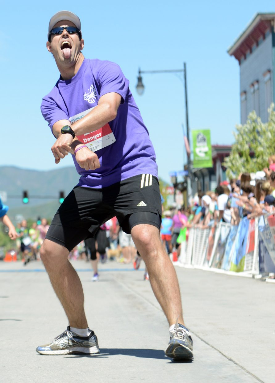 Some finishers celebrated differently than others Sunday at the Steamboat Marathon.