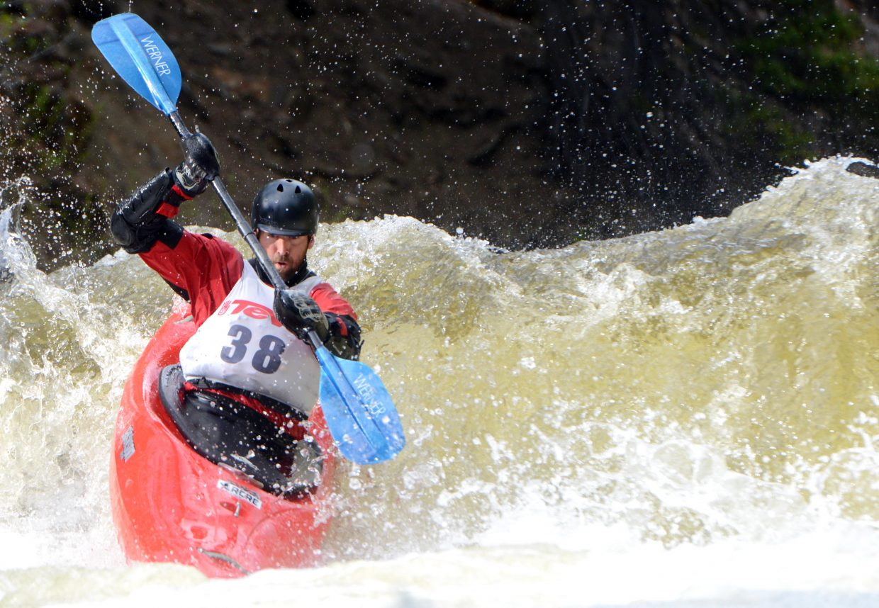 Mike Geary tears down Fish Creek on Monday on his way to winning the Paddling Life Creek Race.