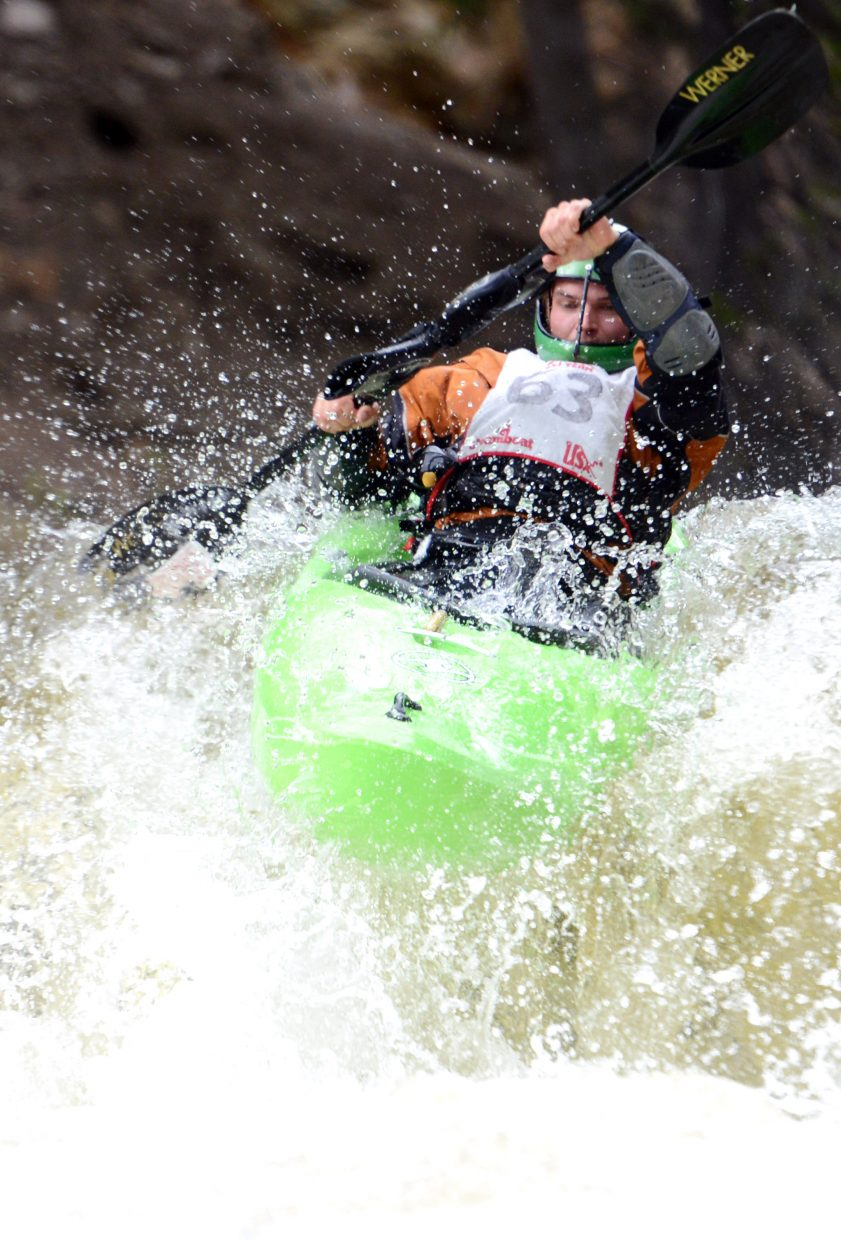 Luc Strickland heads down Fish Creek on Monday.