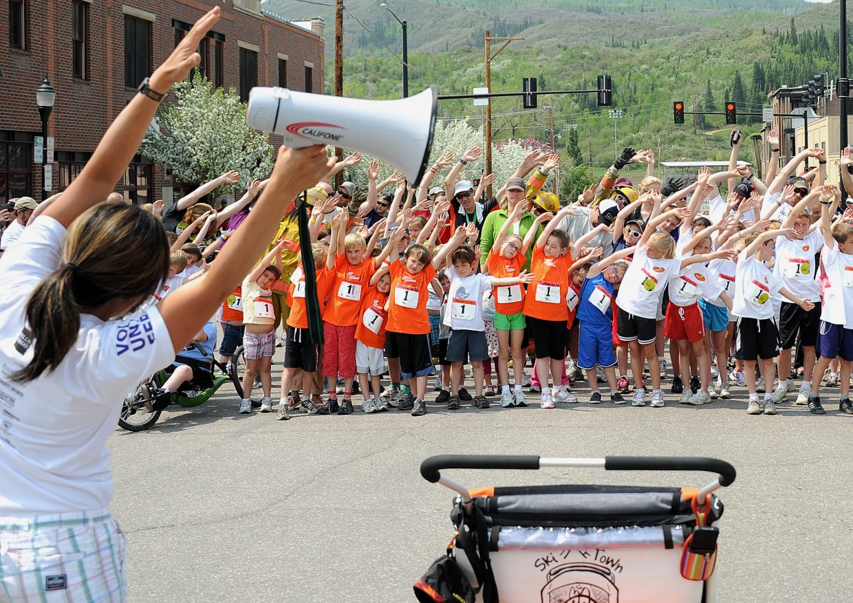 Sunday's youngest racers get ready for the 1-kilometer Fun Run during the Steamboat Marathon in Steamboat Springs.
