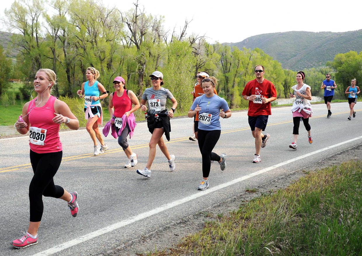 Haylee Sherwood leads a pack of runners on Sunday in the Steamboat Marathon.
