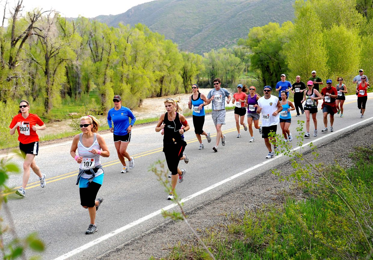 Runners participate in the 2017 Steamboat Marathon.