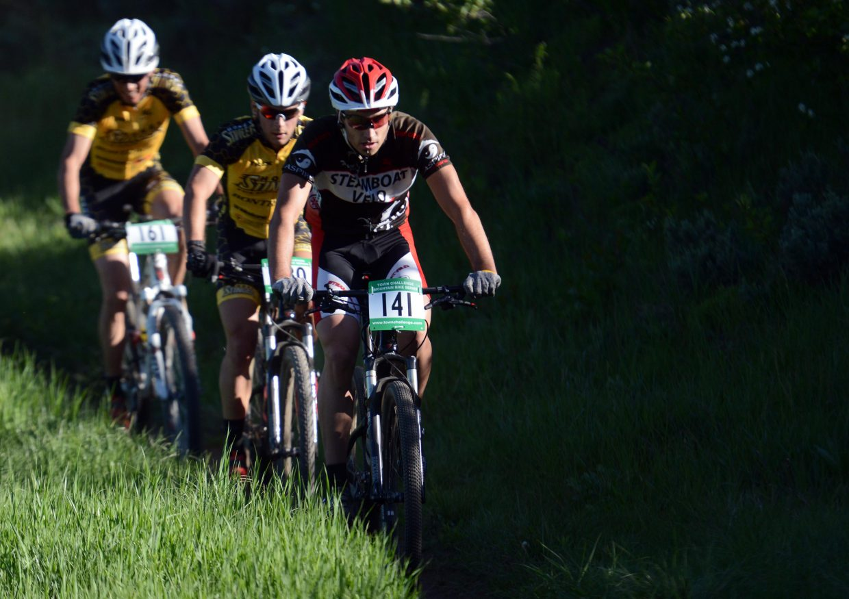 Alex Pond leads a group Wednesday in the Town Challenge race in Steamboat Springs.