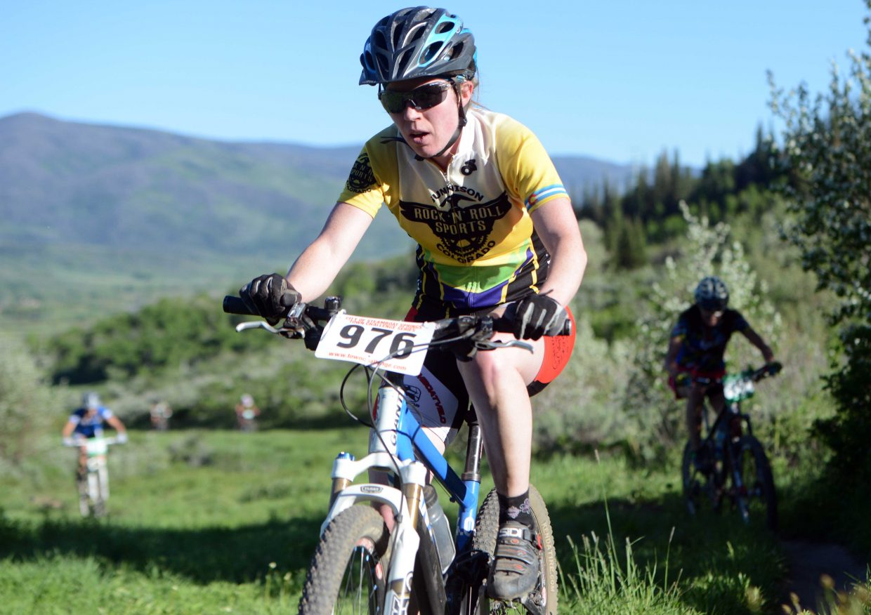 Becky Sears rides Wednesday in the Town Challenge race at Emerald Mountain.