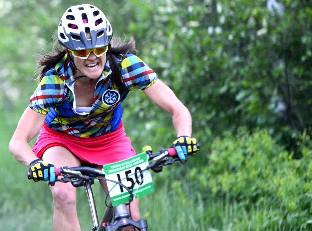 Mindy Mulliken rides Wednesday in the Town Challenge race at Emerald Mountain.