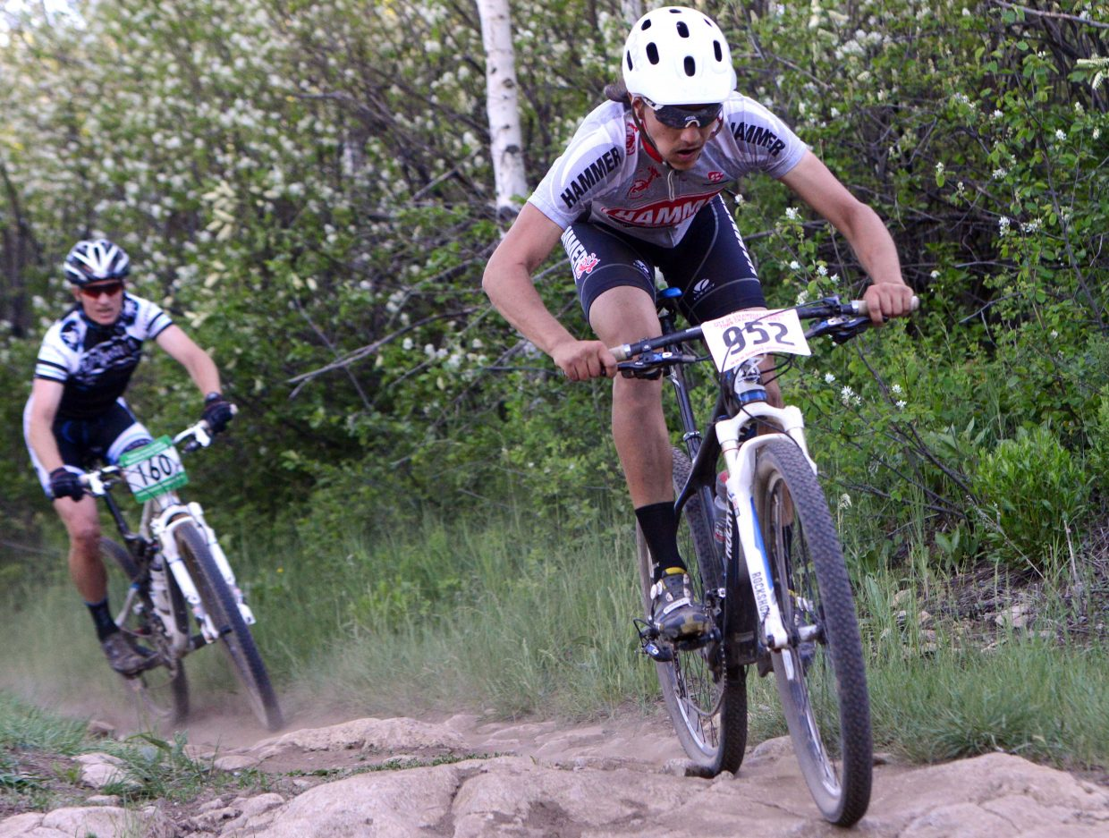 Kacey Campbell rides Wednesday in the Town Challenge race at Emerald Mountain.