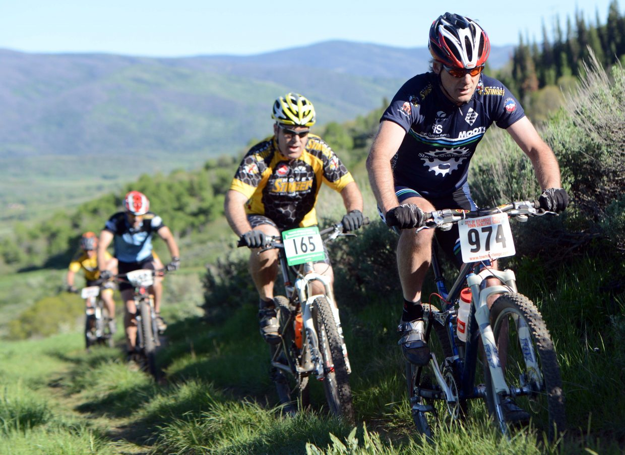 Scott Myller leads the way for a pack of riders Wednesday.