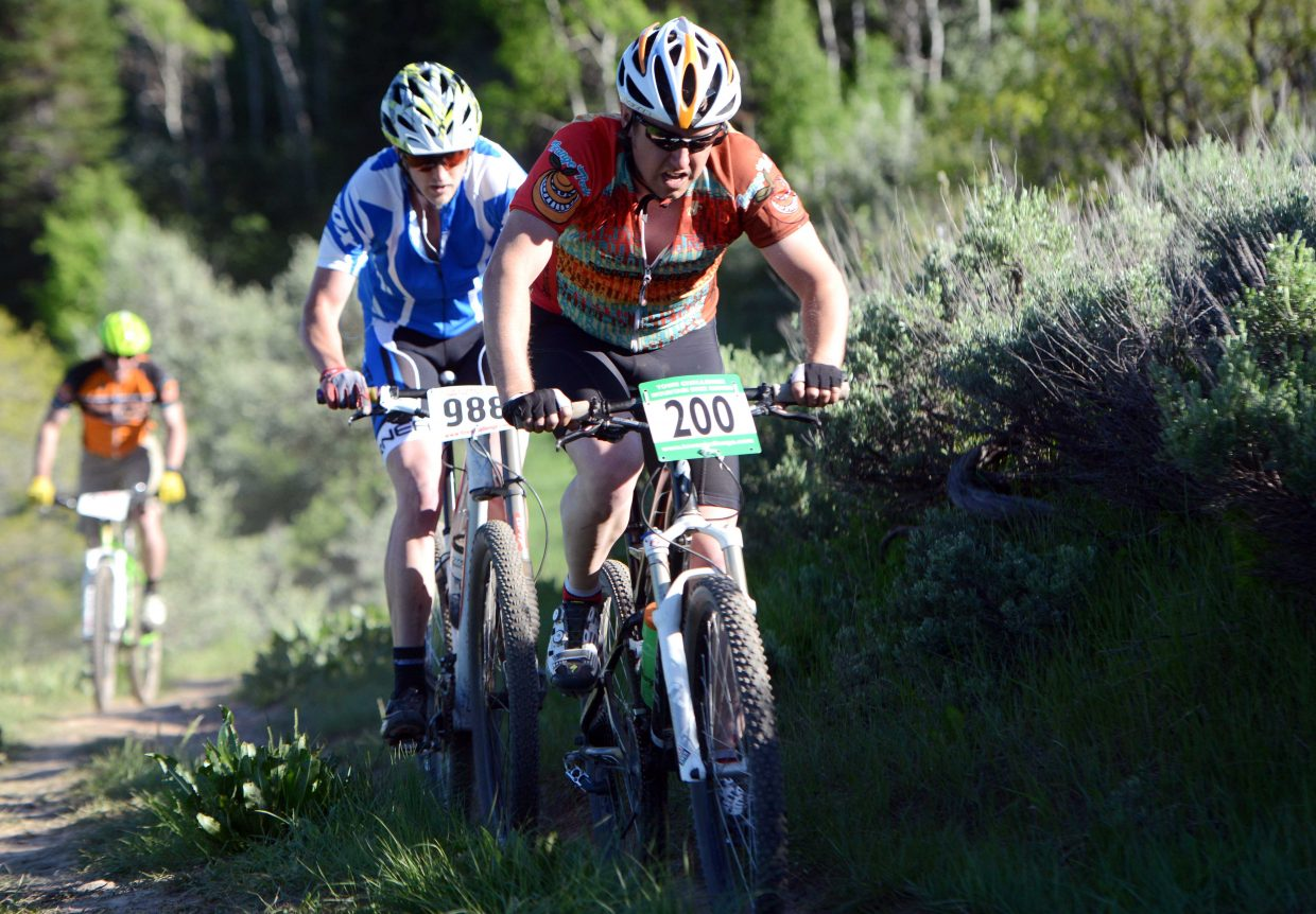Matthew Eggen rides Wednesday in the Town Challenge race at Emerald Mountain.